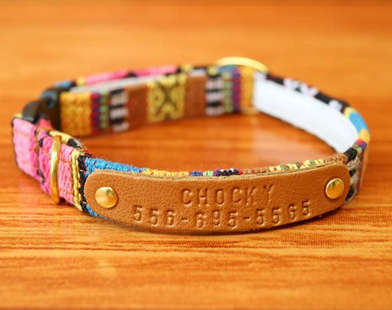 Colorful Aztec Personalized Cat Collar Chocky Cat Collar