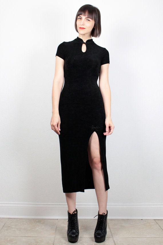 Vintage 90s Dress Black Bodycon Dress Midi Dress High Slit Skirt 1990s Dress Goth Dress Club Kid Dress Mandarin Collar Keyhole Neck S Small #vintage #etsy #90s #1990s #goth #clubkid #grunge #asian #keyhole #bodycon #midi #dress
