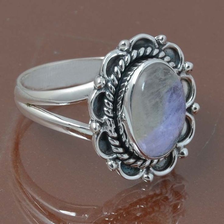 RAINBOW MOONSTONE 925 STERLING SILVER RING JEWELRY 4.67g DJR6954 SIZE 8.5 #Handmade #Ring