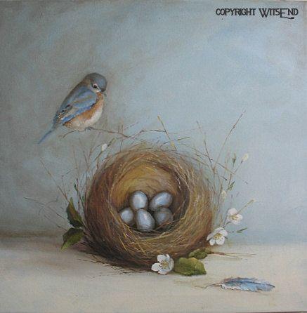 Bluebird Nest painting original bird and eggs still life art