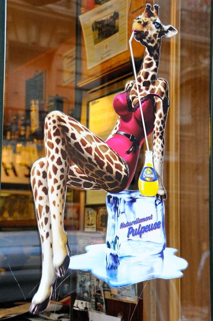 Stacked Giraffe in lingerie.