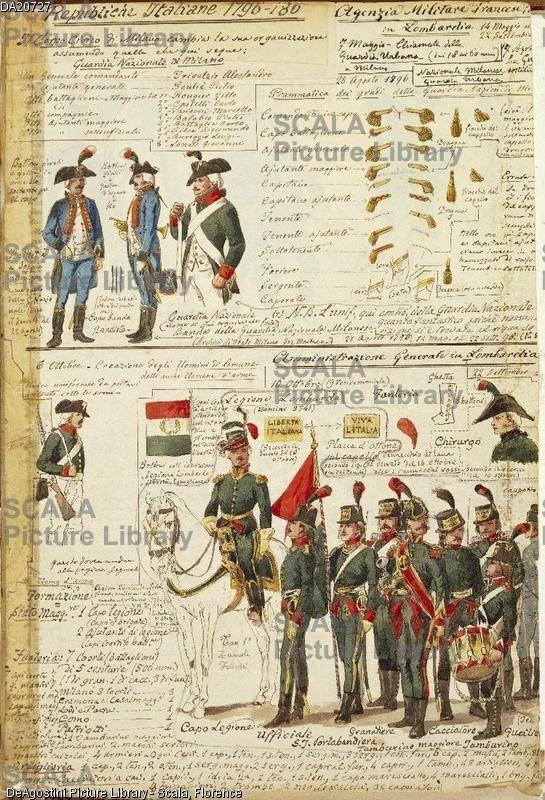 ******** Militaria, Italia XIX secolo. Uniformi della Guardia Nazionale di Milano. Tavola dal Codice Cenni.