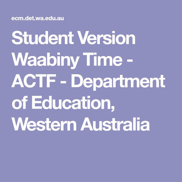Student Version Waabiny Time - ACTF - Department of Education, Western Australia