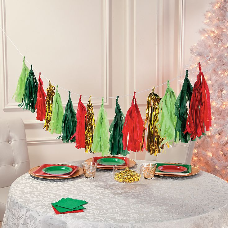 This Christmas Tassel Garland With Tissue Paper And