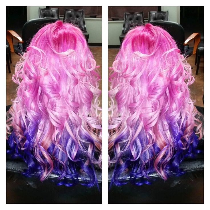 Hot Pink with Purple Underneath curls