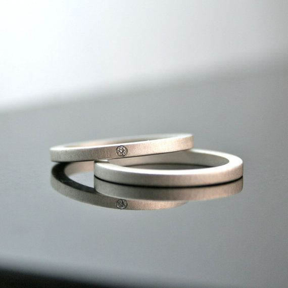 One Tiny Diamond Ring Set  Simple Wedding Ring  by CocoandChia, $195.00