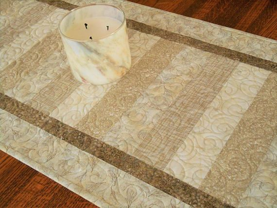 Rustic Glam Decor Quilted Table Runner in Neutral Shades of
