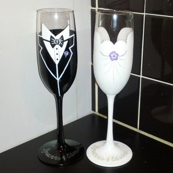 Bride and Groom hand painted champagne flutes by GlassesbyJoAnne, $45.00