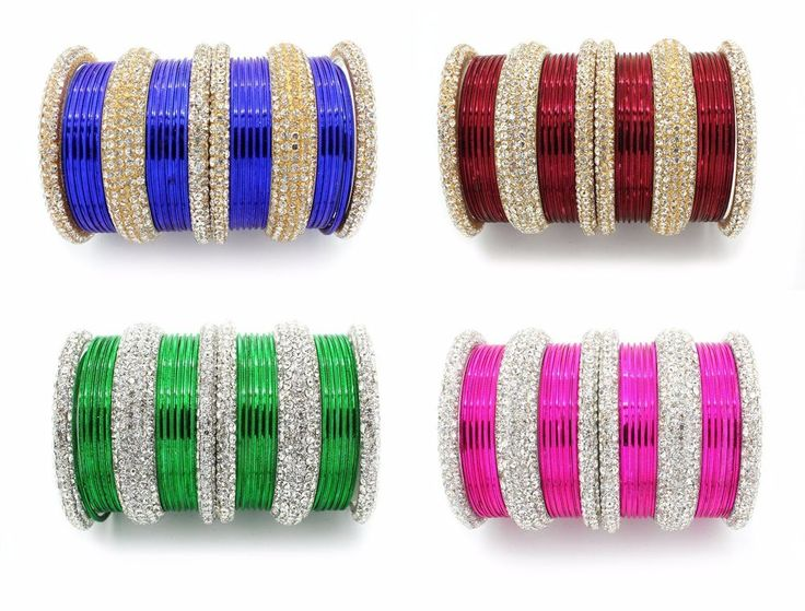 PACK OF 26 DIAMANTE INDIAN BANGLES CHURI BOLLYWOOD JEWELLERY SET (SU)