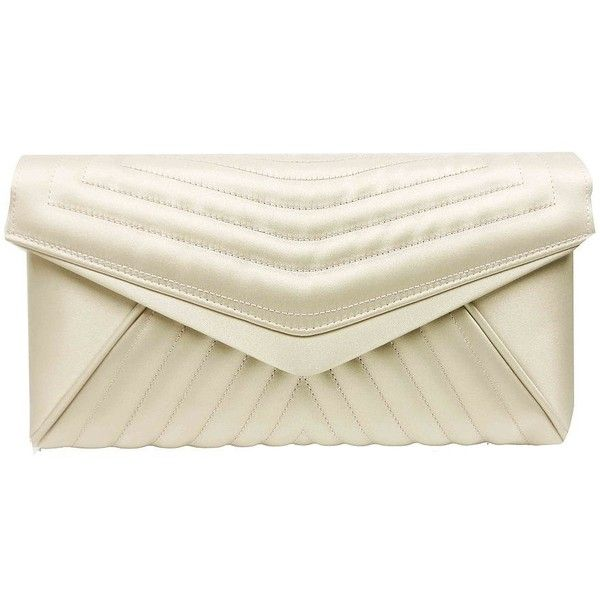 Sondra Roberts Quilted Chain Clutch ($102) ❤ liked on Polyvore featuring bags, handbags, clutches, taupe, quilted chain handbag, envelope clutch, quilted handbags, taupe handbag and white quilted purse