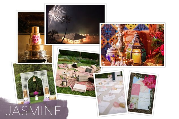 Jasmine wedding inspiration board with jewel-toned hues and gilded details
