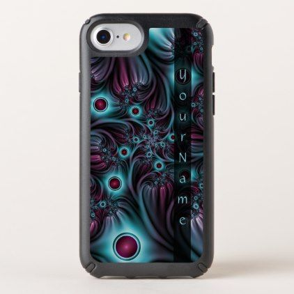 Into the Depth Blue Pink Abstract Fractal Art Name Speck iPhone Case - monogram gifts unique design style monogrammed diy cyo customize