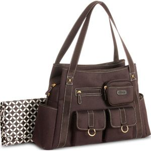 I want this! Simple look with tons of compartments and best of all only $25 at Walmart! -- Baby Boom Fashion Tall Tote Diaper Bag, Brown