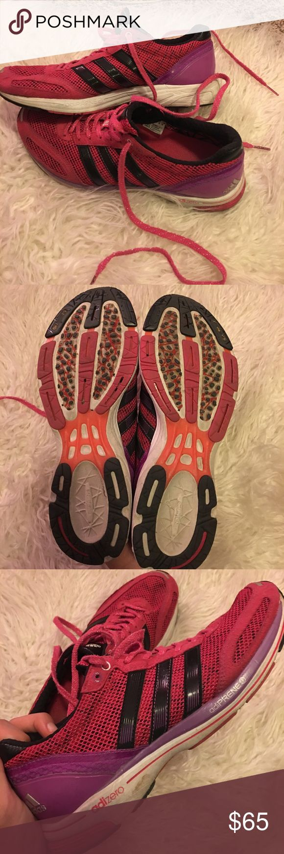 Adidas Adizero Boosts Slightly worn Adidas tennis shoes. Perfect for training and running!  Sparkly shoe strings! adidas Shoes Athletic Shoes
