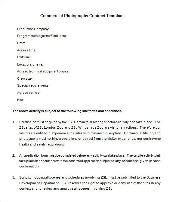 28 Commercial Photography Contract Template In 2020 Photography