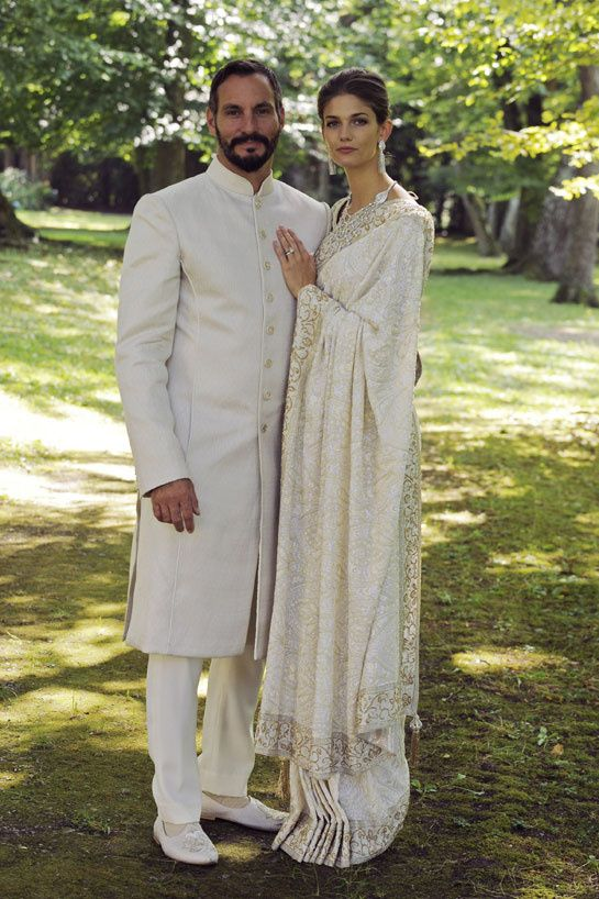 Kendra Spears, the US model, married Prince Rahim Aga Khan at the Château de Bellerive, in Geneva, Switzerland. She chose a magnificent ivory sari by Indian couturier Manav Gangwani, for the Muslim wedding ceremony that saw Kendra emerge as Princess Salwa.
