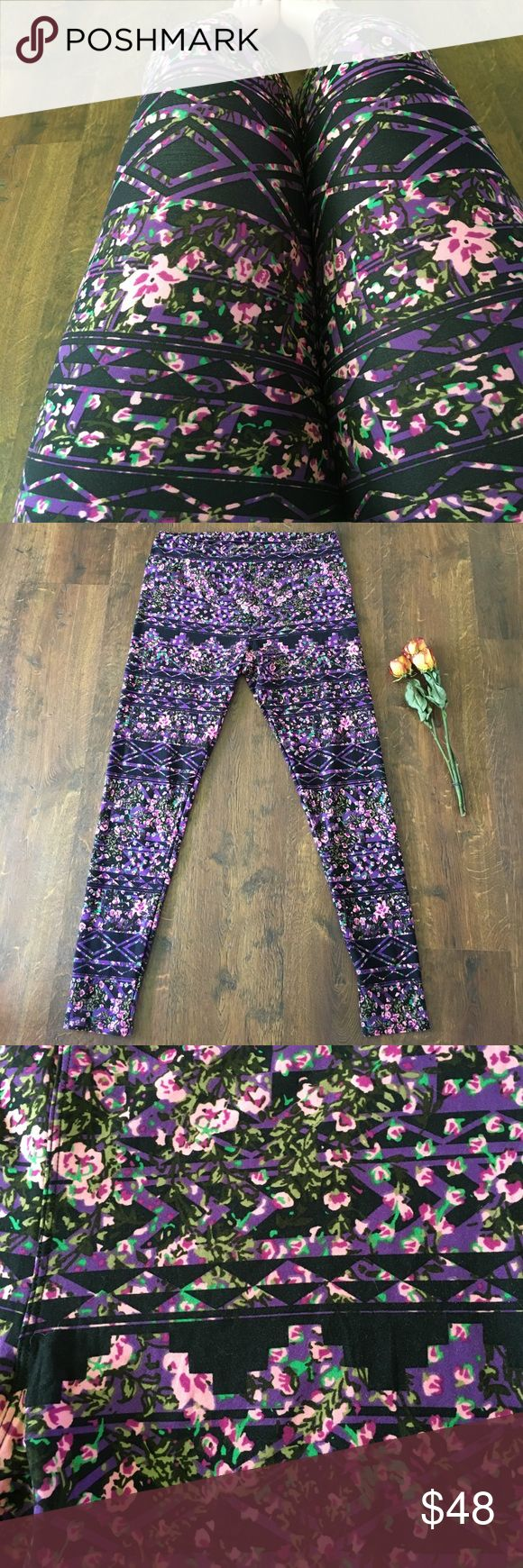 New LLR TC Purple Floral Leggings Brand new LuLaRoe Tall and Curvy leggings.  These are a cool mix of two patterns intertwined.  One is black and people Aztec and the other is a feminine pink and green floral.  Never washed or worn except for photo.  Made in China. LuLaRoe Pants Leggings