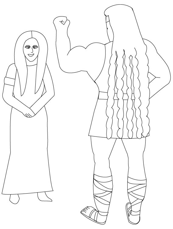 Samson And Delilah Coloring Pages Sunday School Lessons Free Christian Printables
