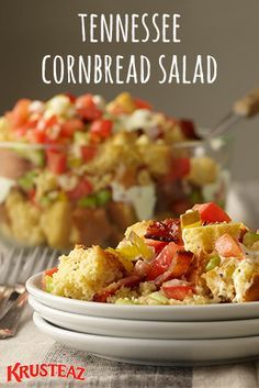 The epitome of comfort food, this Tennessee Cornbread Salad and Dressing features some of the best sweet and savory Southern flavors around like bacon, sweet pickles, and onion. This is a unique and delicious meal or side dish for weekend breakfasts with your family or brunch with friends that is sure to wow!