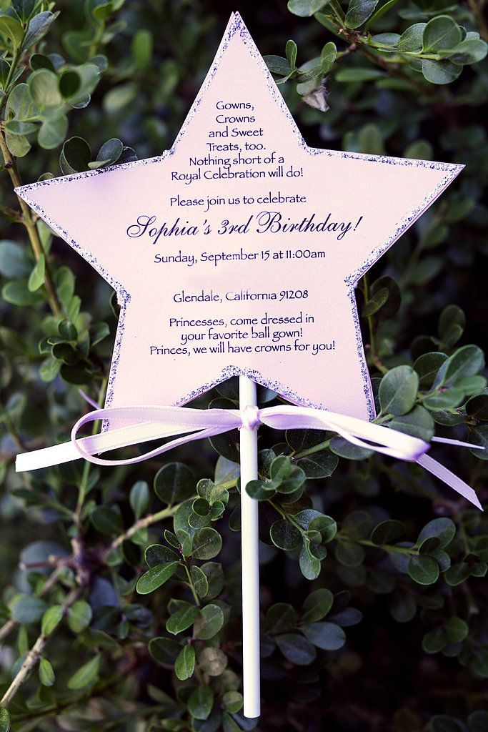 Creative Works Designs made the princess party invitations, which also acted as magic wands!  Source: Melody Melikian Photography