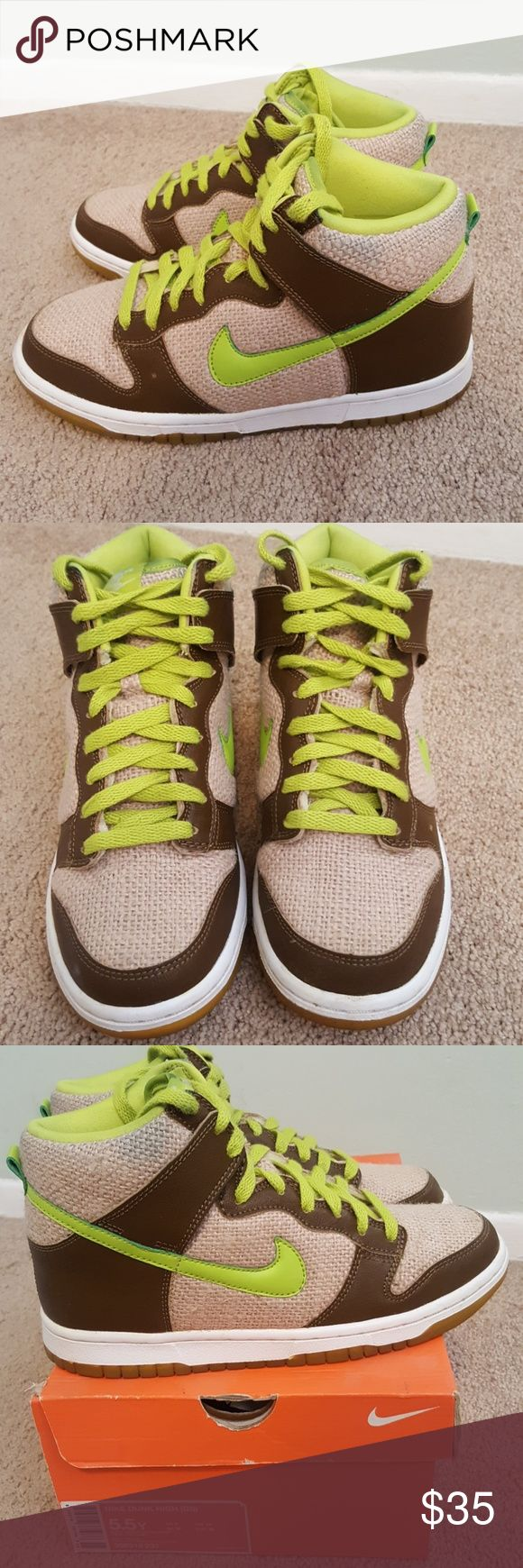 """Nike Dunk high Known as the """"Shreks"""". In great condition, they have only been worn a few times. Nike Shoes Sneakers"""