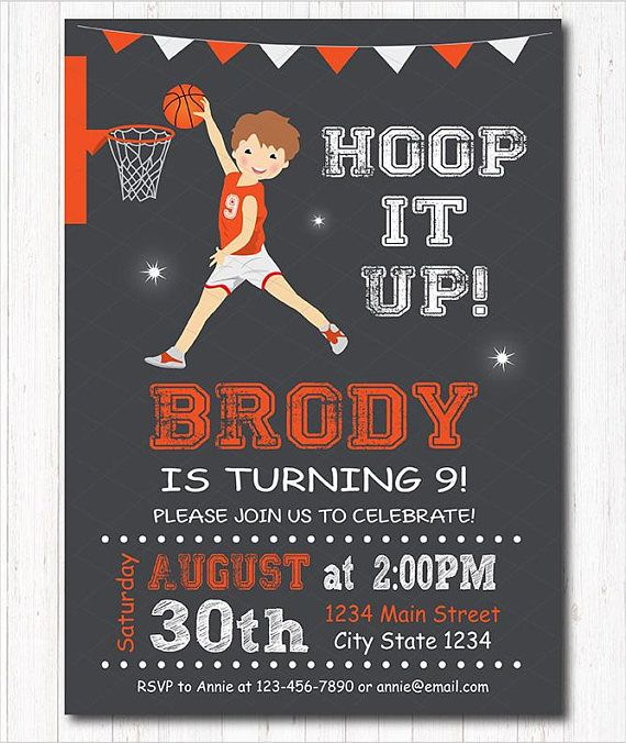 Basketball Birthday Invitation chalkboard printable