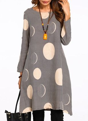 Cotton Polka Dot Long Sleeve Knee-Length Dresses (1124531)