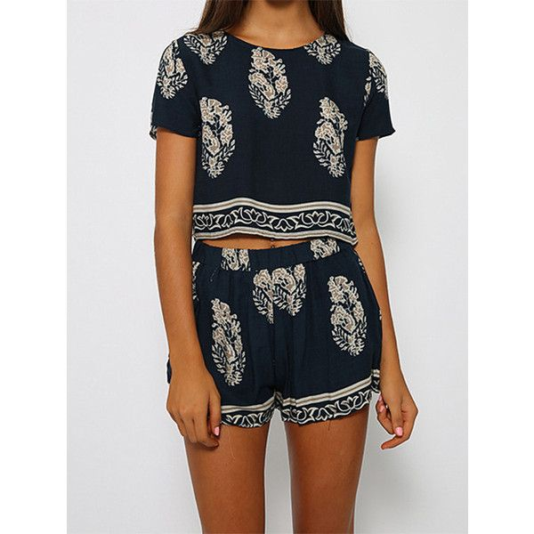 SheIn(sheinside) Navy Short Sleeve Leaves Print Crop Top With Shorts ($15) ❤ liked on Polyvore featuring tops, outfits, shorts, two piece, navy, navy blue crop top, print top, pattern tops, crop top and navy tops