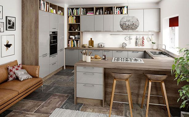 Thinking about a G-shaped kitchen? They offer a lot of storage options and work space and can also be very practical as everything is in easy reach. This one is from Magnet.