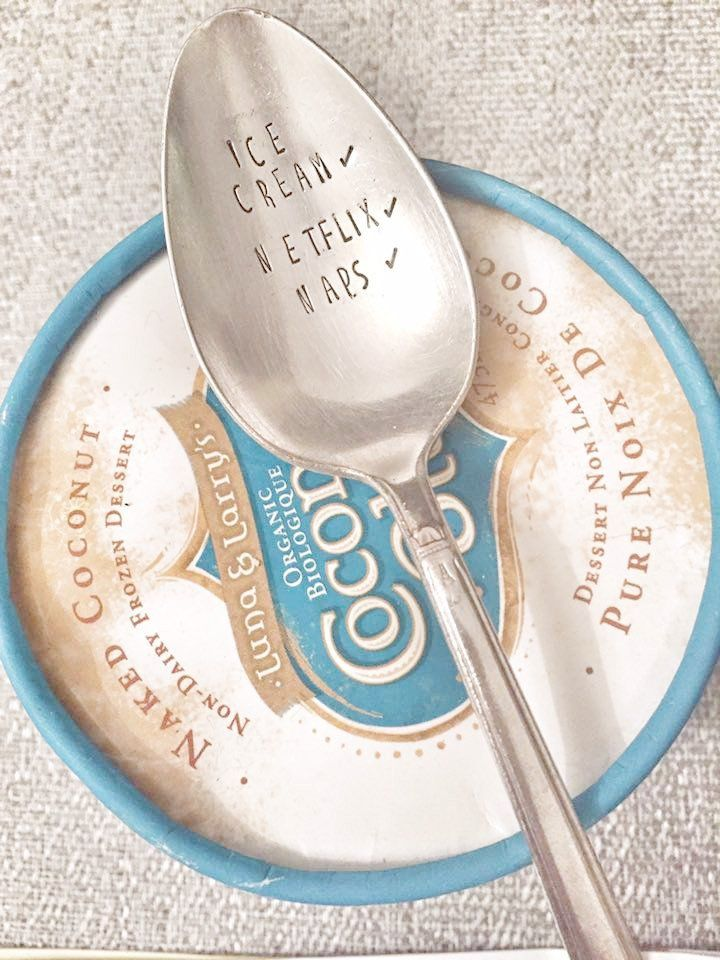 Netflix & Chill - Antique Spoon - Hand Stamped Spoon