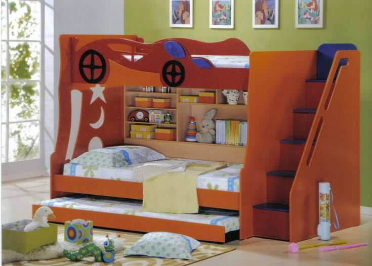 Kids Room Wooden Kids Bedroom Furniture Of Brown Car Style Loft Bed For Boy