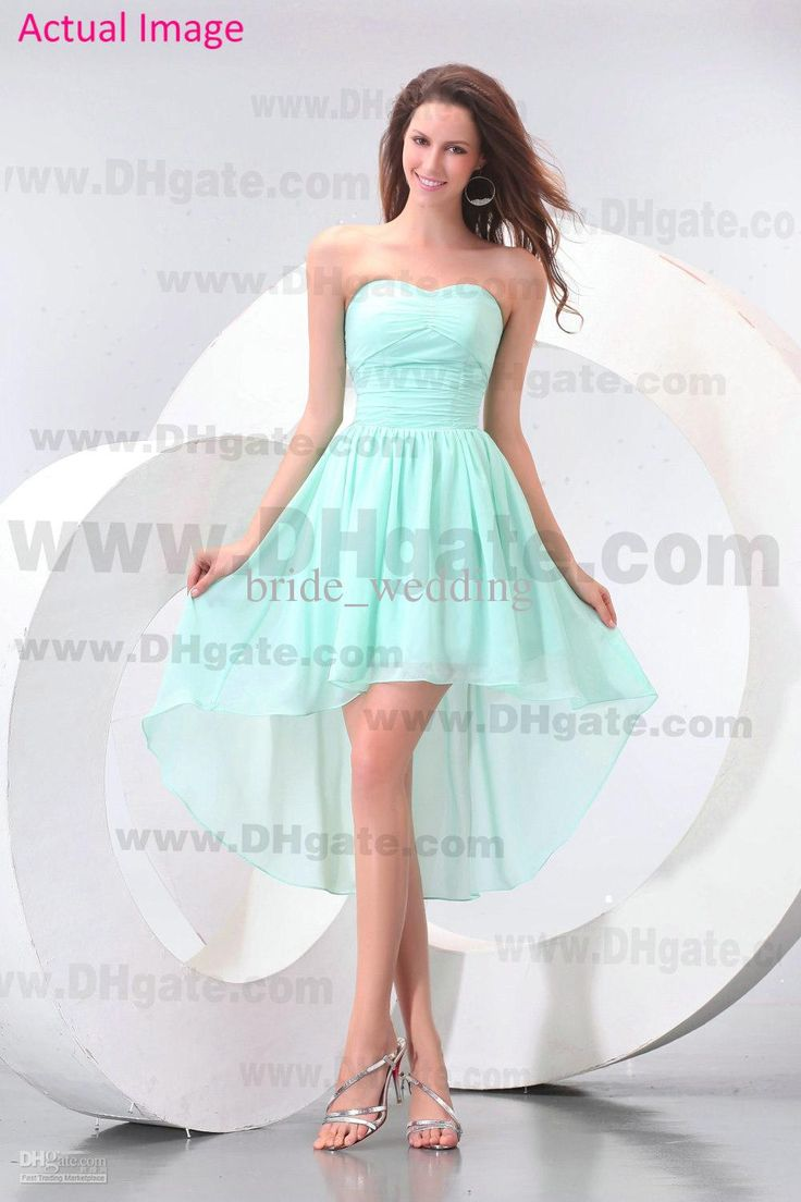2013 Beach Mint Green Bridesmaid Dresses Chiffon Hi Lo
