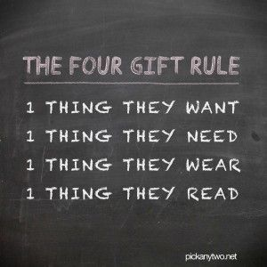 The Four Gift Rule - We did this for our kids' Christmas presents. Great idea!