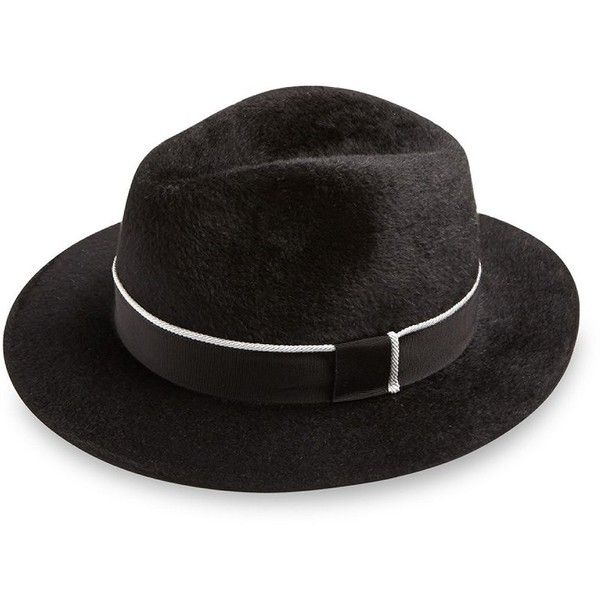 Barbisio Felt Ribbed Fedora (1.000 BRL) ❤ liked on Polyvore featuring men's fashion, men's accessories, men's hats, apparel & accessories, black, mens fedora hats, mens felt hat and mens wool felt fedora hats