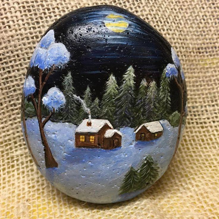 #snow #cottage #paintedrocks #handpainted #rockinart58