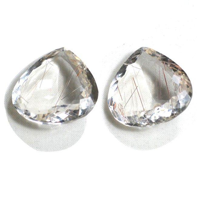 Rutile Quartz Gemstone Pair