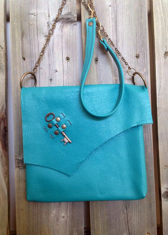 Turquoise Leather Side Bag with Raw Edge Flap and Antique Heart Skeleton Key by HeartnSoulHandbags, $205.00