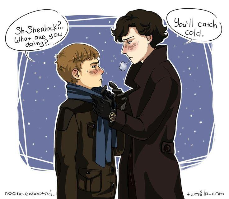 Sherlock giving John his scarf. (Johnlock)