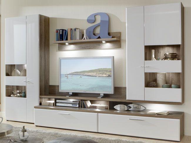 Das Bild Zeigt Eine Florida Moderne Wohnwand Weiss Hochglanz Sanremo Eiche Zum Selbst Zusammenstellen