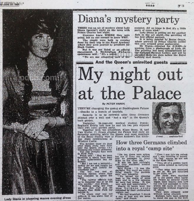 "Our Princess Diana News Article Today Is From June 24, 1981: ""Diana'S Mystery Party"""