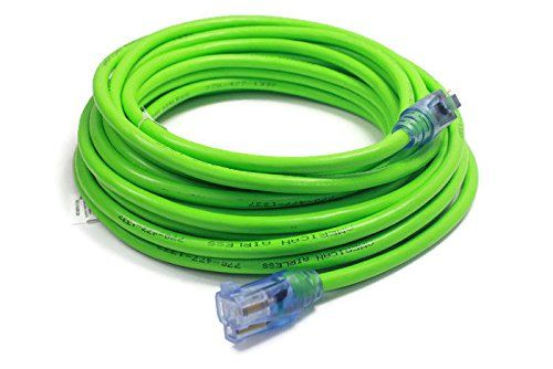 Century Contractor Grade 100' 10 Gauge Power Extension Cord 10/3 Plug ,extension cord With Lighted Ends (100 ft 10 Gauge, green)  Gauge.extension cord air conditioner High visibility neon colors for recognition. With Lighted Ends ,Flame resistant.perfect cord for all around use.Heavy duty outdoor jacket that is water resistant for added protection against moisture  Heavy duty 10 Gauge. High visibility neon colors for recognition. Flame resistant. Heavy duty outdoor jacket that is water...