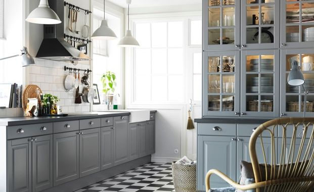 Modern Country Kitchen Design Ideas with Grey Cupboard Beautiful Lamp with Unique Floor