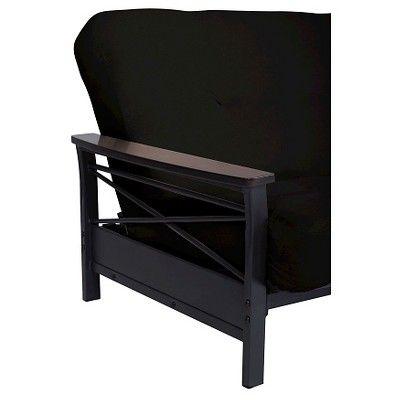 Nadine Metal Futon Frame with Wood Armrests - Espresso/Black - Dhp