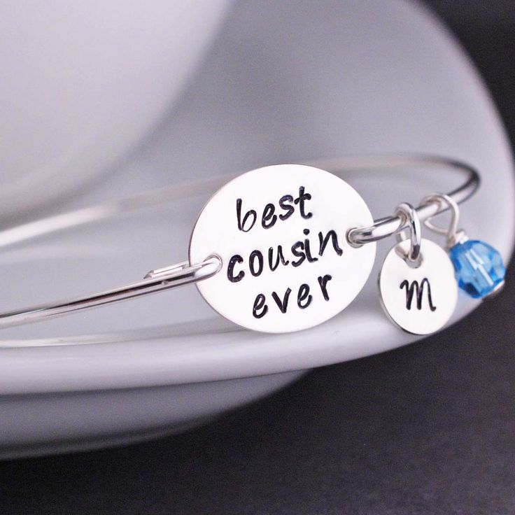 Best Cousin Ever Bangle Bracelet in Sterling Silver from georgie designs personalized jewelry