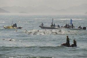 Competição internacional de maratona aquática na praia de Copacabana válida como evento-teste para os Jogos Olímpicos Rio 2016 (Fernando Frazão/Agência Brasil)
