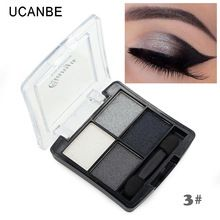 Maquiagem profissional 4 cores da moda glitter eyeshadow palette cosméticos naturais nu maquiagem brilhante sombra de olho com pincel alishoppbrasil
