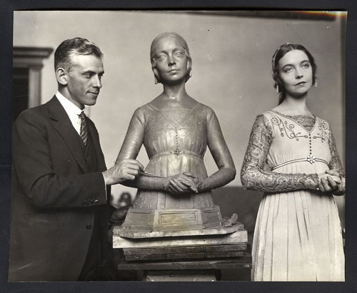 """Gleb Derujinsky, Russian-American sculptor with the sculpture of actress Lillian Gish in 1924. In 1926, he designed and patented the """"Rearing Lion"""" hood ornament for the Franklin automobile"""
