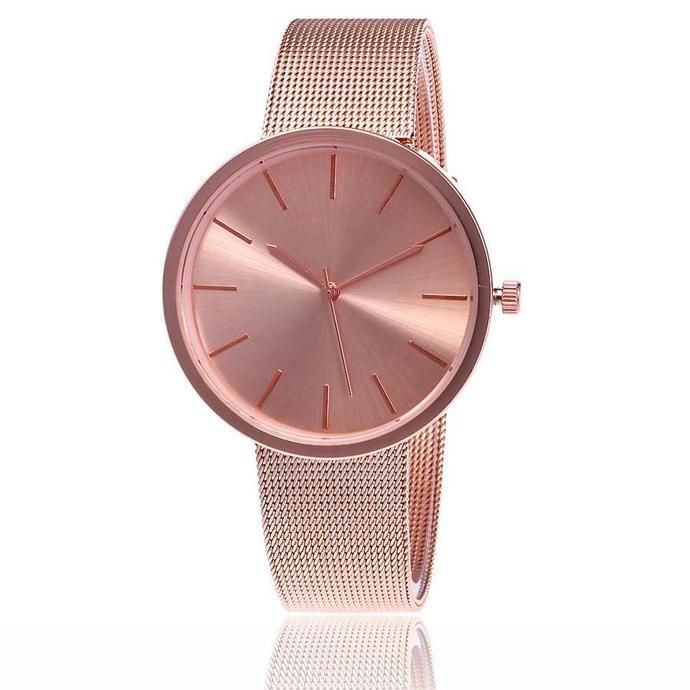 Mesh Band Round Casual Wristwatch