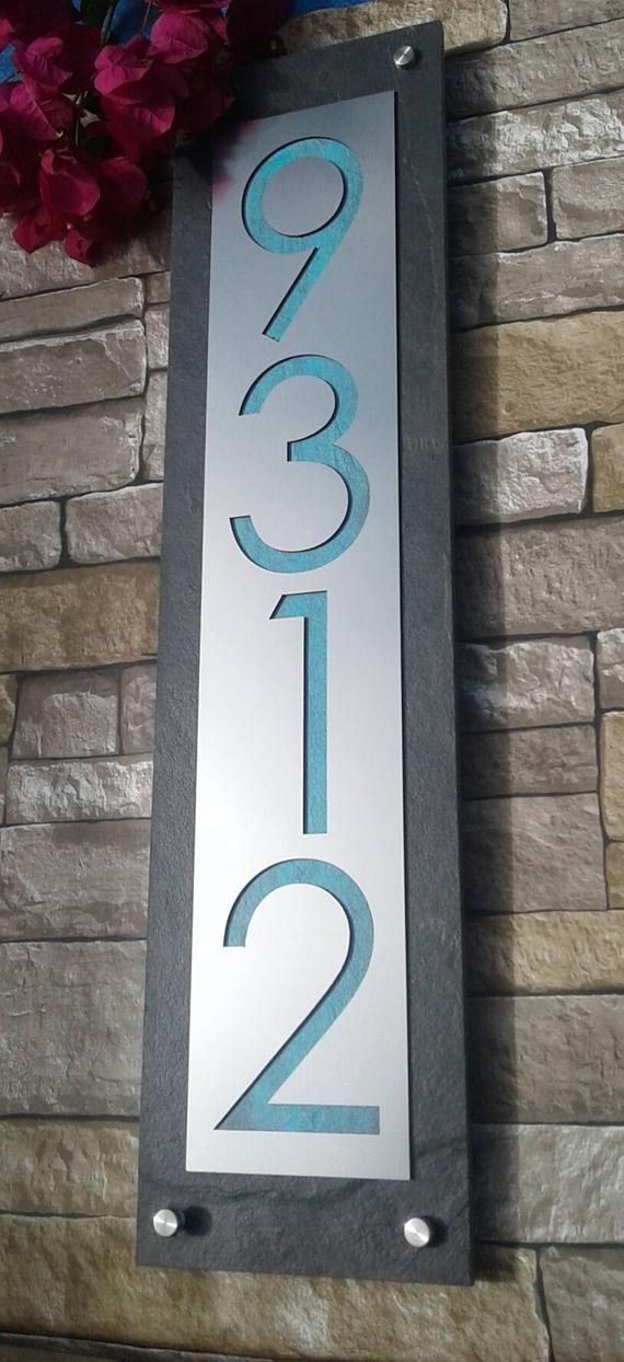 Modern Address Plaque Mid Century House Numbers Vertical Etsy In 2020 Modern House Number Midcentury House Numbers House Numbers Diy
