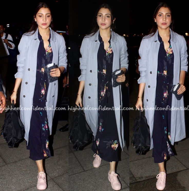 Anushka in French Connection dress, trench from Zara, Adidas sneakers, Prada backpack, Celebrity fashion, Bollywood Style, Fashion, Indian Celebrity, Bollywood Style, Bollywood Fashion, Indian Fashion, Travel vogue
